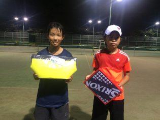 優勝 大久保 まこ(Fテニス) 写真左側 準優勝 山口 陽大(PCA JTA)